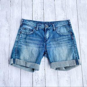 Silver Jeans Sammy Bermuda Cuffed Denim Shorts 26